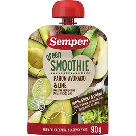 12kpl Semper Green Smoothie Päärynä, avokado & lime hedelmäsmoothie 6kk 90g