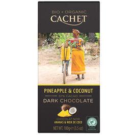 Cachet Pineapple & Coconut 57% tummasuklaalevy luomu 100g