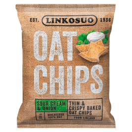 Linkosuo Oat Chips Sour Cream & Onion kauralastu 150g