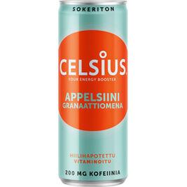 Celsius Appelsiini & Granaattiomena virkistysjuoma 355ml