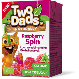18kpl TwoDads Raspberry Spin vadelmamehu luomu 2dl