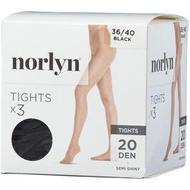 3kpl - Koko 36-40 Norlyn sukkahousut 20den Black