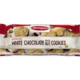Semper White Chocolate Brazil Nut Cookies keksi gluteeniton 150g