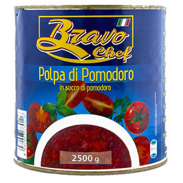 Bravo Chef murskattu tomaatti tomaattimehussa 2,5kg