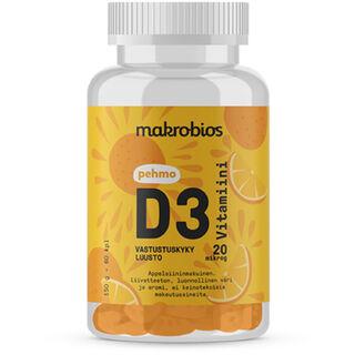 Makrobios Pehmo D3-vitamiini 20 mcg appelsiininmakuinen 60tabl