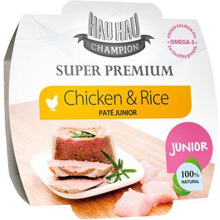12kpl Hau-Hau Champion Super Premium Junior kana-riisipaté koiralle 100g